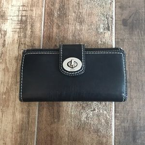Coach Black Leather Wallet W Checkbook holder